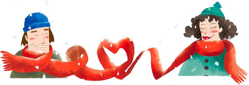 Illustratore Disegnatore Lorenzo Donati Natalori Milano coppia innamorata sciarpa inverno neve amore love