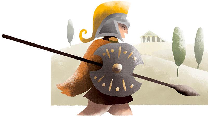 Illustratore Disegnatore Lorenzo Donati Natalori Milano achille guerriero armatura lancia guerra troia