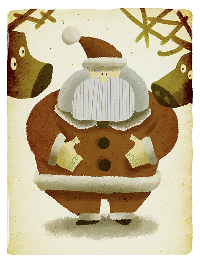 Illustratore Disegnatore Lorenzo Donati Natalori Milano babbo natale santa claus renne ciccione pancione