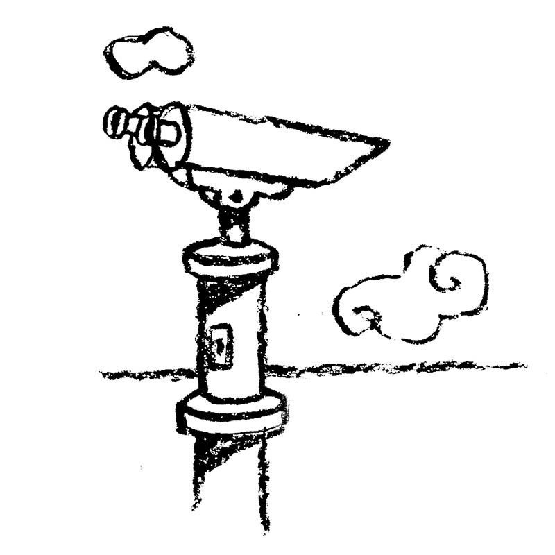 Illustratore Disegnatore Lorenzo Donati Natalori Milano binocolo orizzonte nuvole