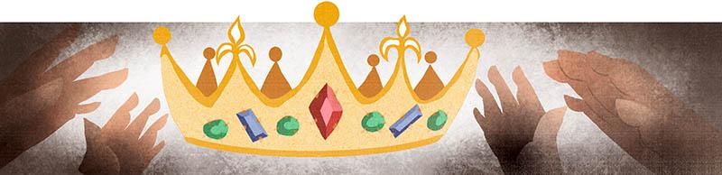 Illustratore Disegnatore Lorenzo Donati Natalori Milano corona regina mani predatori tombaroli abdicare re artù