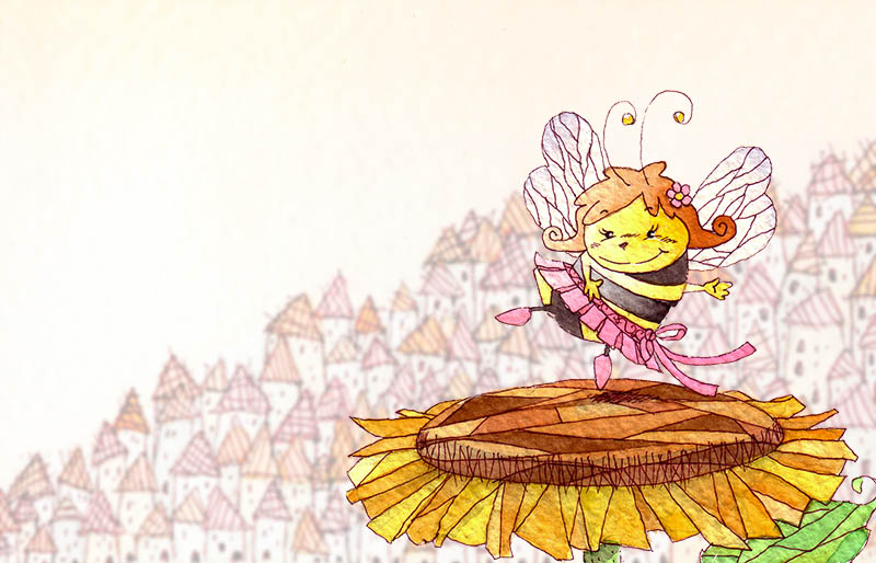Illustratore Disegnatore Lorenzo Donati Natalori Milano ape miele girasole campagna città case borgo nicotinoidi api