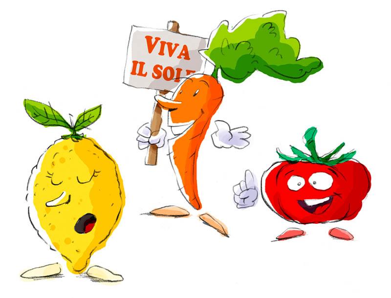 Illustratore Disegnatore Lorenzo Donati Natalori Milano frutta carota limone pomodoro parlante bambini educazione cibo
