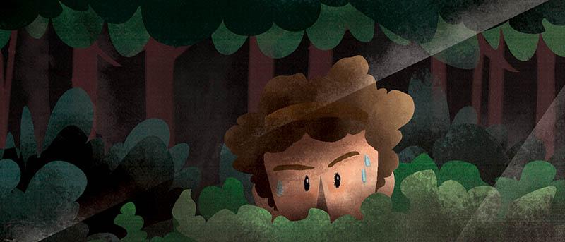 Illustratore Disegnatore Lorenzo Donati Natalori Milano fuggiasco nascosto bosco luce ombra paura