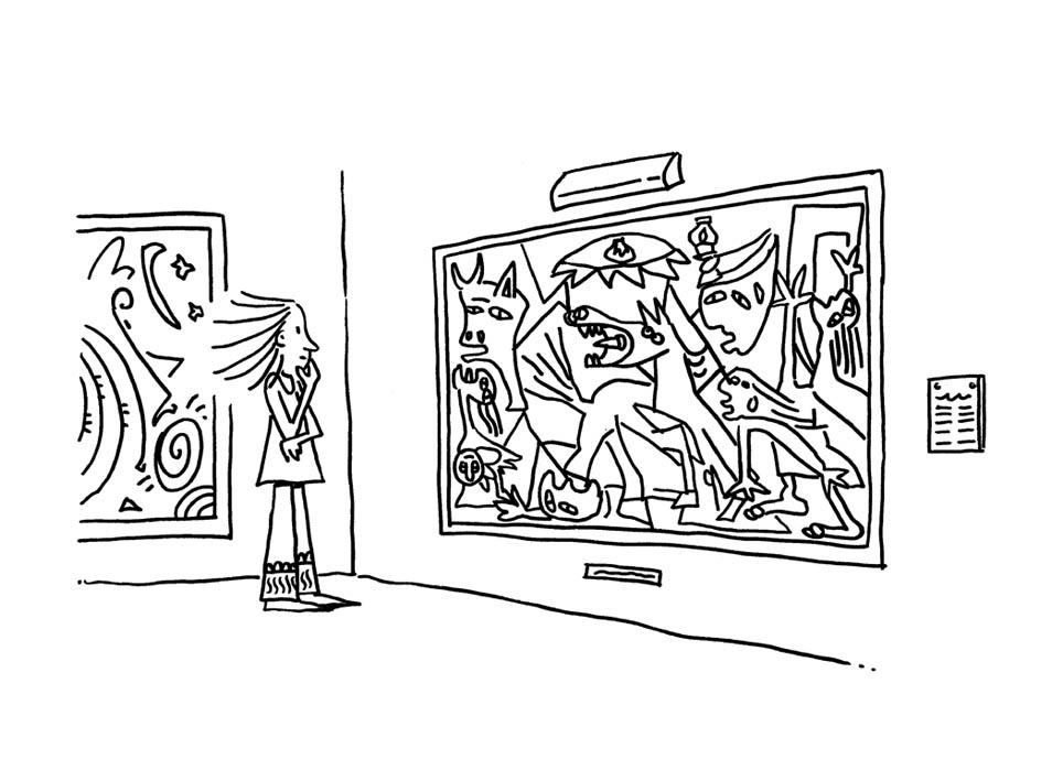Illustratore Disegnatore Lorenzo Donati Natalori Milano mostra quadro guernica picasso osservare museo