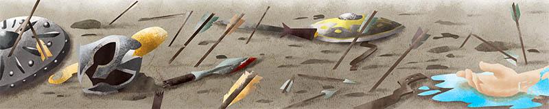 Illustratore Disegnatore Lorenzo Donati Natalori Milano guerra sparta atene troia punica spade campo battaglia morti sconfitta scudi elmi