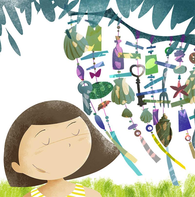 Illustratore Disegnatore Lorenzo Donati Natalori Milano pendagli conchiglie vento albero bambina poesia suono vento chiave