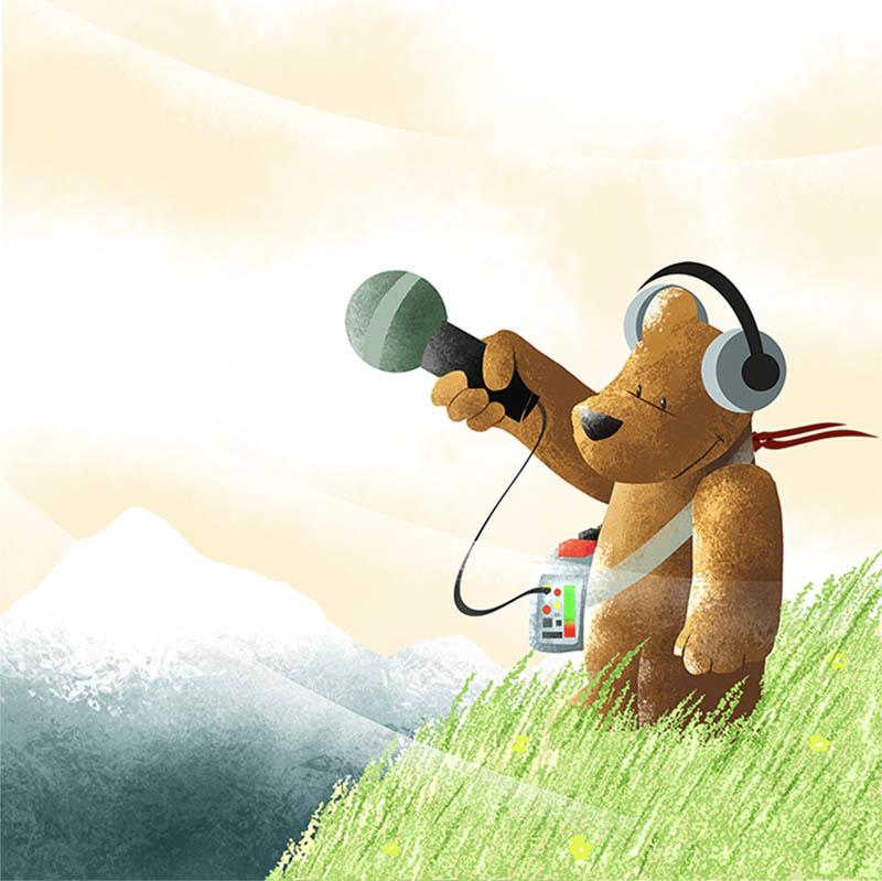 Illustratore Disegnatore Lorenzo Donati Natalori Milano orsetto orso tecnico suono montagna microfono registra vento
