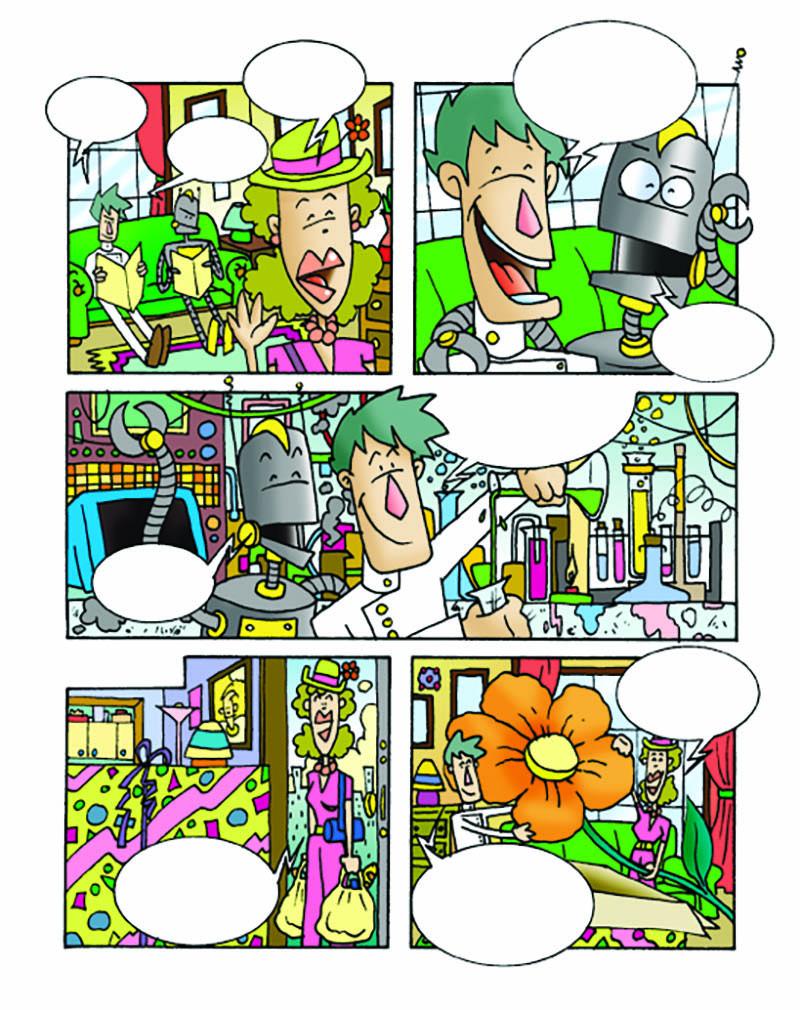 Illustratore Disegnatore Lorenzo Donati Natalori Milano professore scienziato robot amore fidanzata fiore gigante laboratorio esperimenti