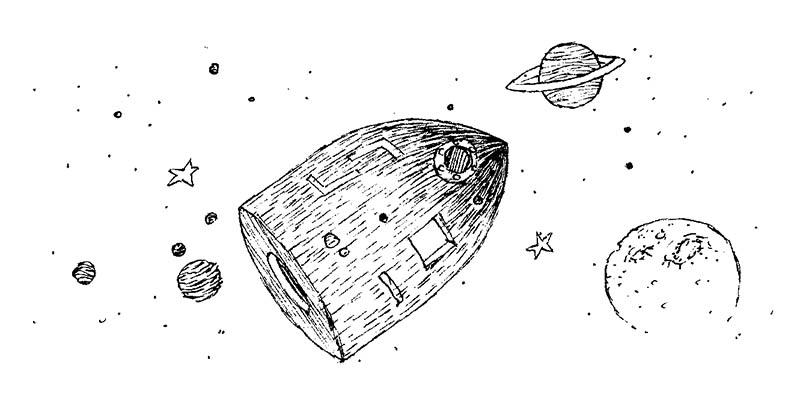 Illustratore Disegnatore Lorenzo Donati Natalori Milano jules verne pianeti viaggio navicella spaziale stelle universo luna