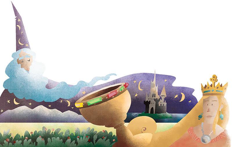 Illustratore Disegnatore Lorenzo Donati Natalori Milano mago merlino barba notte magia incantesimo morgana castello graal santo