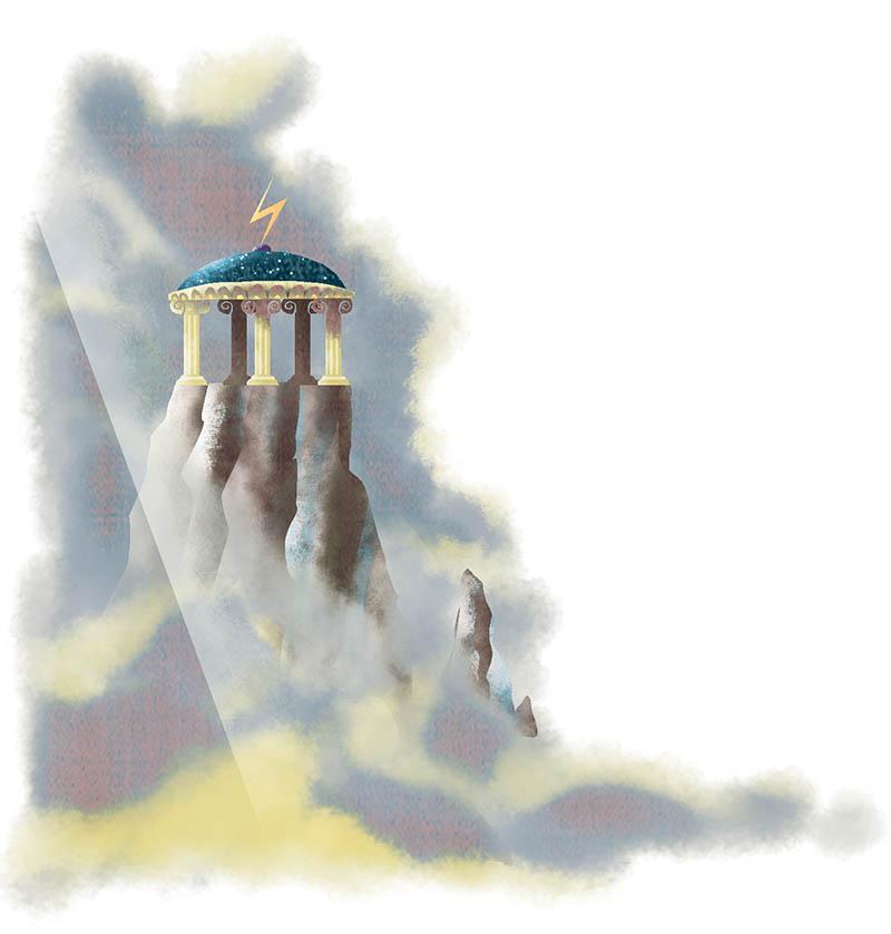 Illustratore Disegnatore Lorenzo Donati Natalori Milano olimpo nuvole zeus fulmine monte dei divinità apollo casa