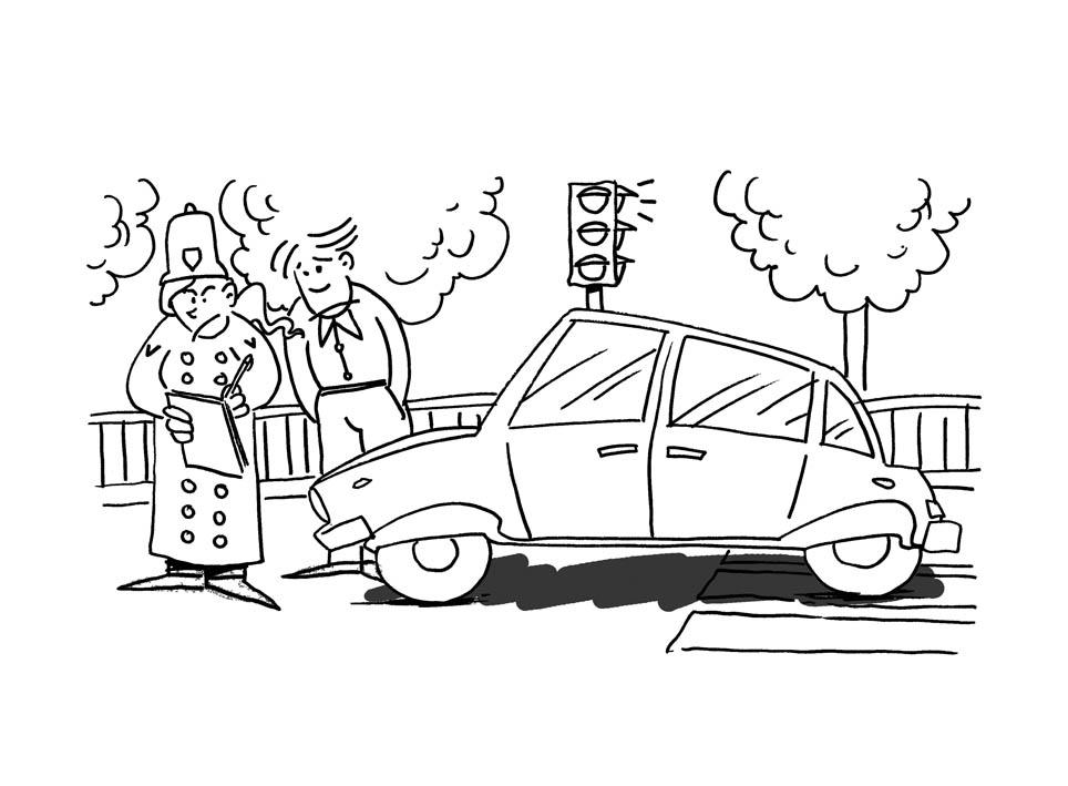 Illustratore Disegnatore Lorenzo Donati Natalori Milano multa strisce rosso semaforo vigile paranoia auto