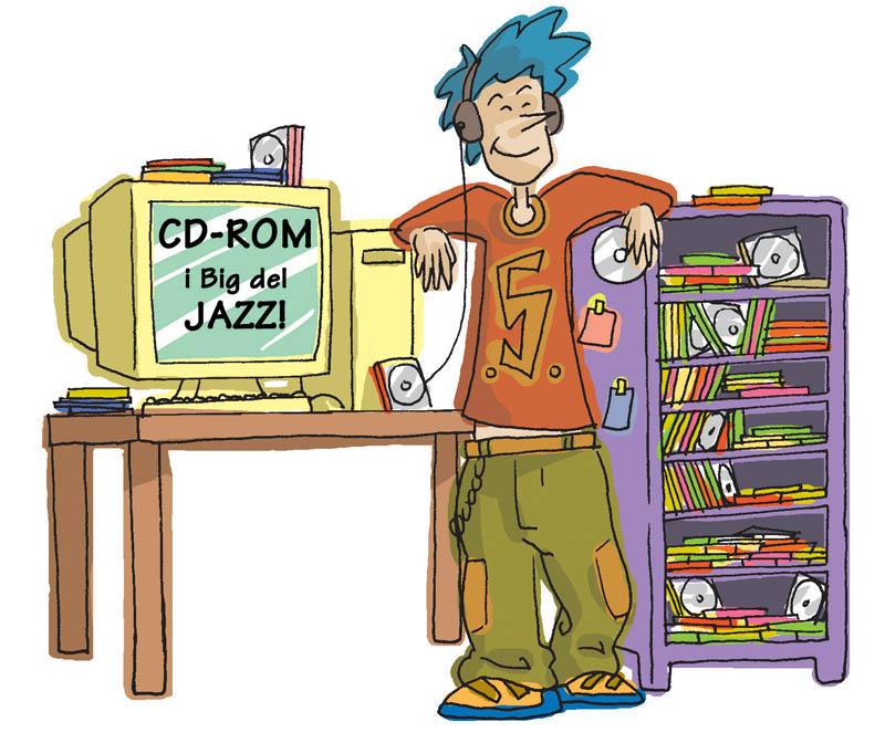 Illustratore Disegnatore Lorenzo Donati Natalori Milano ragazzo musica ascolto cuffie mp3 computer spotify cd cd-rom