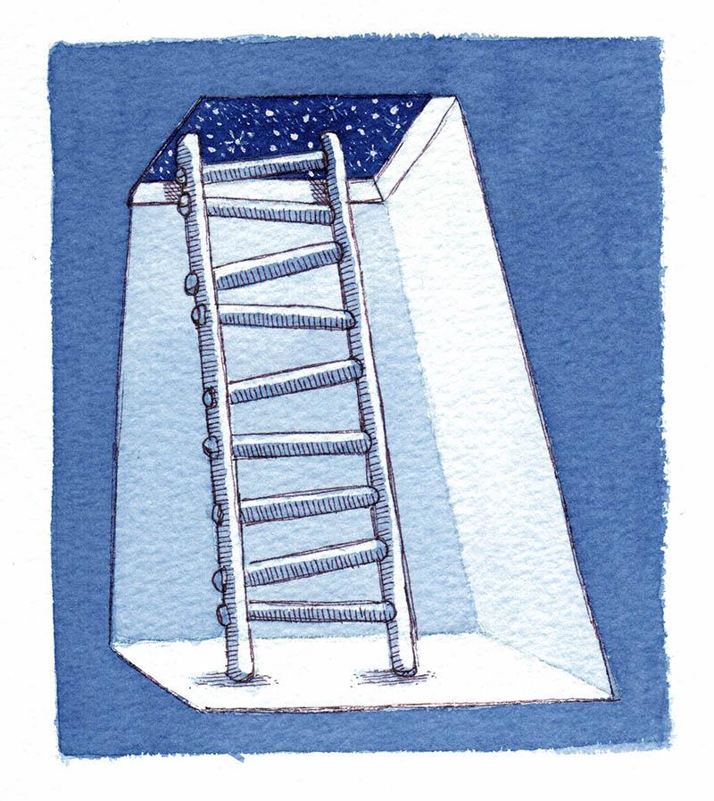 Illustratore Disegnatore Lorenzo Donati Natalori Milano scala stelle sogni notte poesia