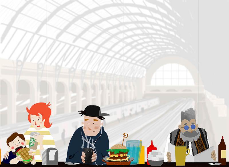 Illustratore Disegnatore Lorenzo Donati Natalori Milano stazione passeggeri cibo ristoro ristorante fast food attesa sala caffè