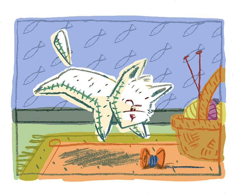 Illustratore Disegnatore Lorenzo Donati Natalori Milano gatto gattino gioca ridere gomitolo lana tappeto cesta