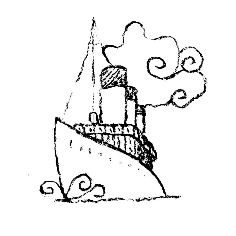 Illustratore Disegnatore Lorenzo Donati Natalori Milano titanic nave mare oceano novecento fumo traversata atlantica
