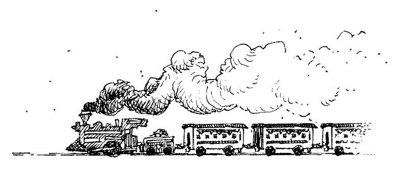 Illustratore Disegnatore Lorenzo Donati Natalori Milano trenino vapore fumo locomotiva