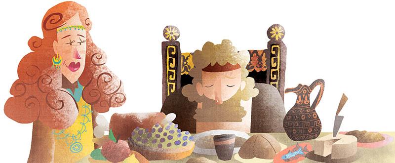 Illustratore Disegnatore Lorenzo Donati Natalori Milano ulisse nausicaa banchetto triste viaggio formaggi partenza