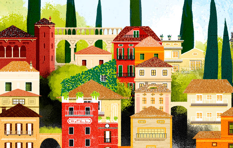 Illustratore Disegnatore Lorenzo Donati Natalori Milano case lago di como varenna bellagio menaggio tremezzina lenno cadenabbia ville
