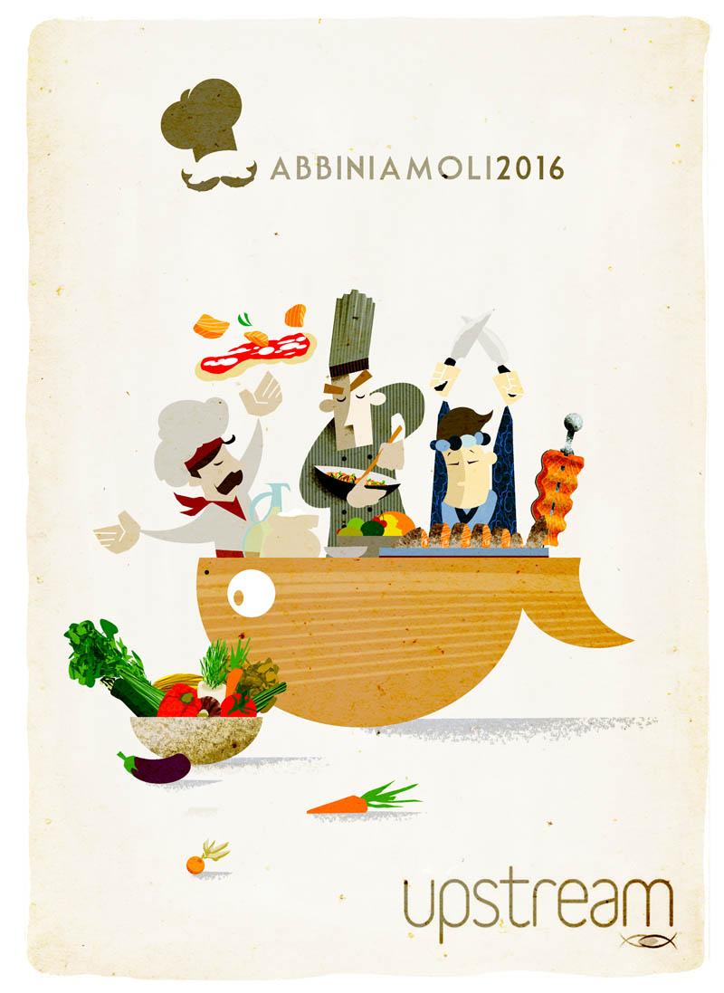 Illustratore Disegnatore Lorenzo Donati Natalori Milano cuochi sushi pizzaiolo frutta e verdura salmone affumicato