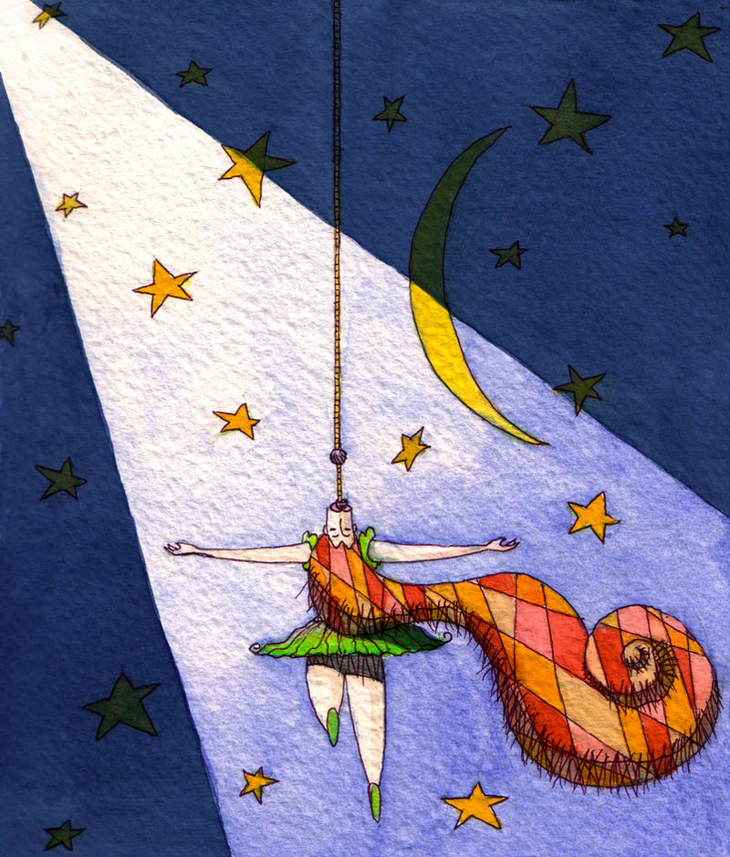 Illustratore Disegnatore Lorenzo Donati Natalori Milano Acrobata tendone circo stelle luna corda appesa