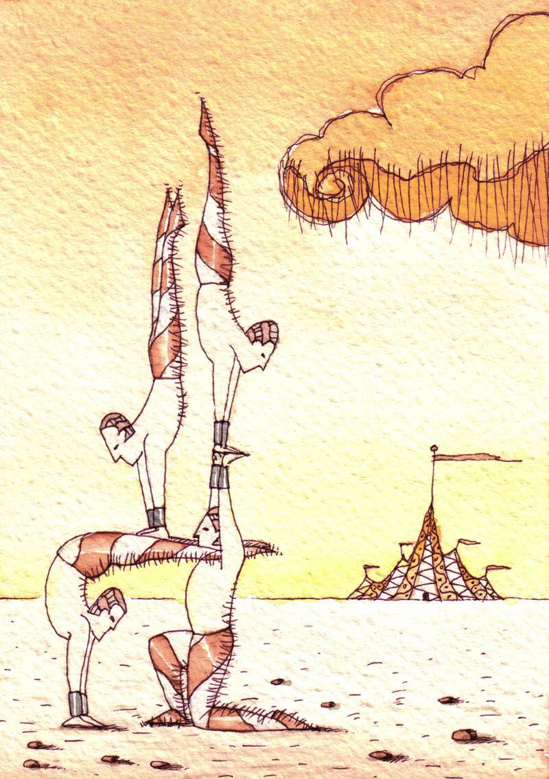 Illustratore Disegnatore Lorenzo Donati Natalori Milano acrobati sulla spiaggia circo nuvole