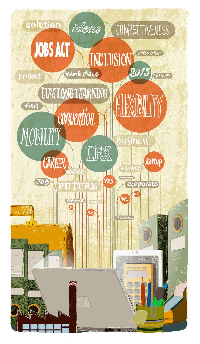 Illustratore Disegnatore Lorenzo Donati Natalori Milano lavoro interinale job act faldoni scrivania lavoro