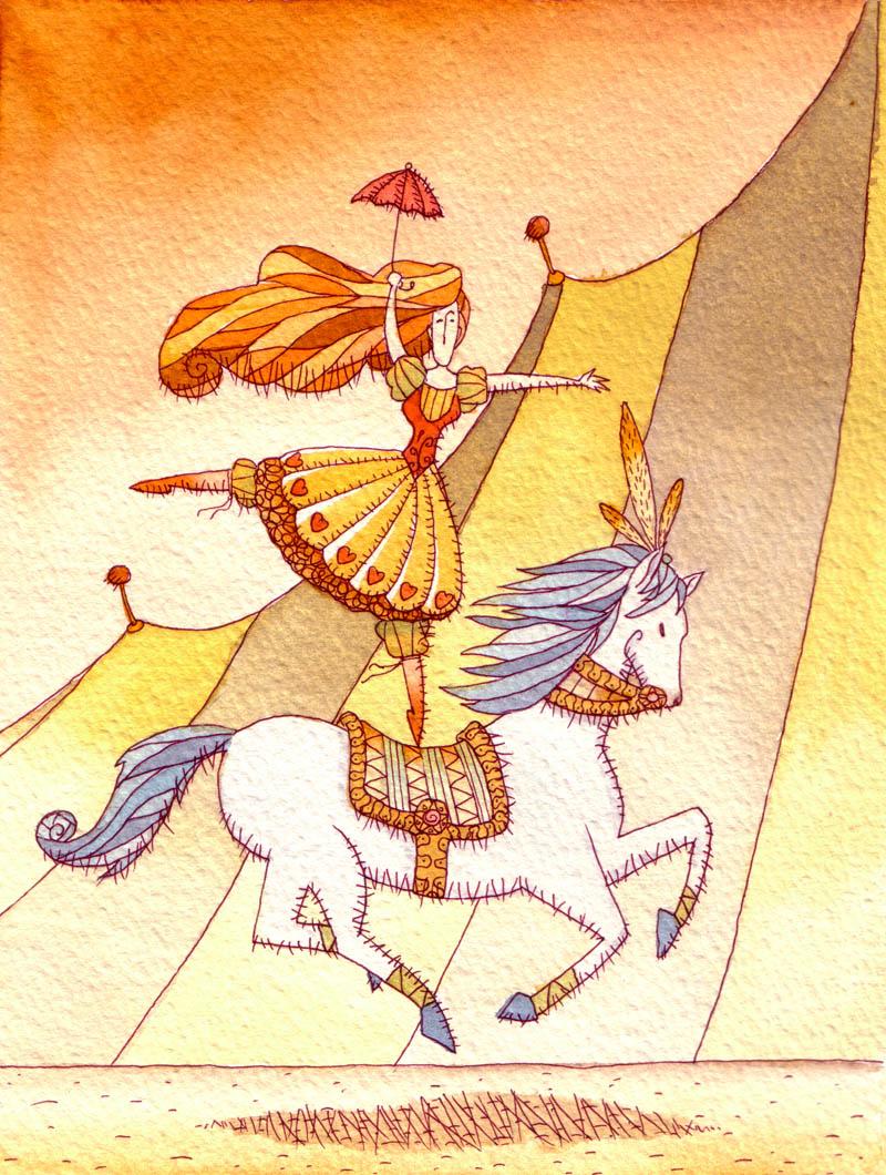 donna Illustratore Disegnatore Lorenzo Donati Natalori Milano amazzone cavallo circo cavalcare