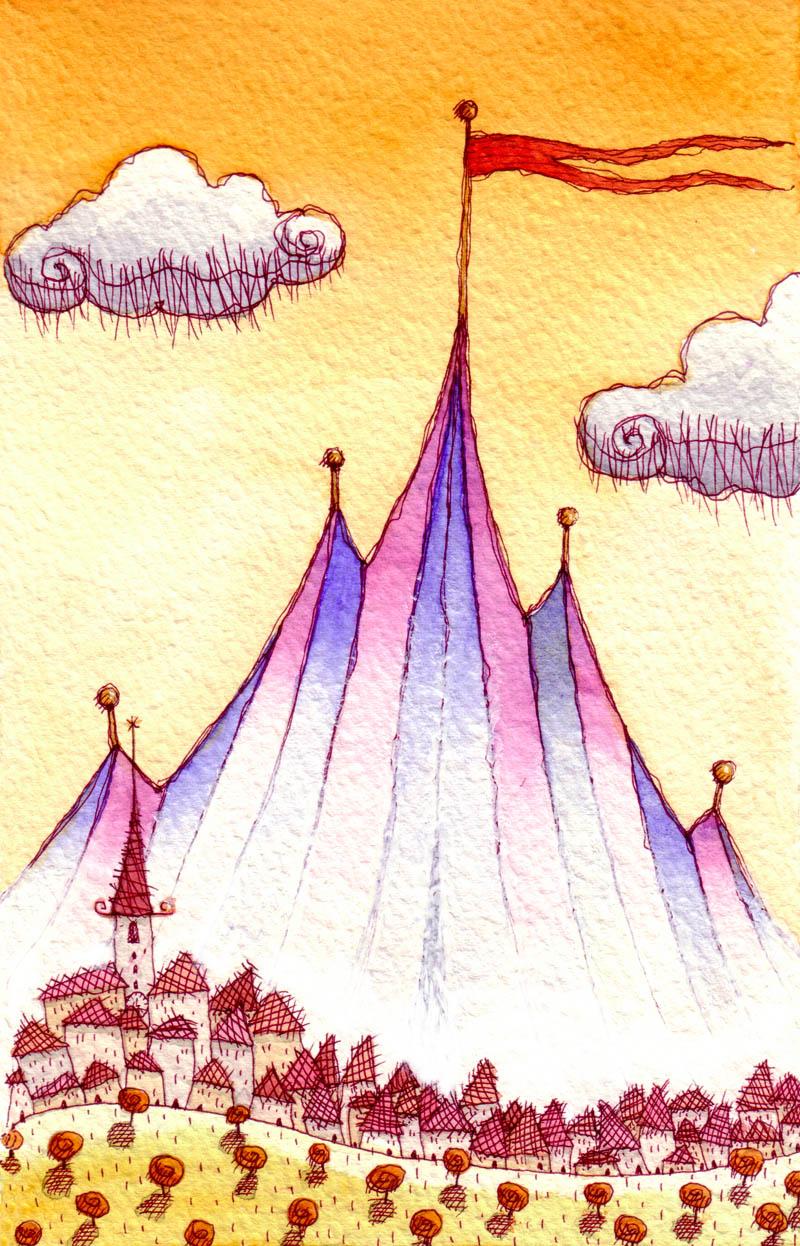 Illustratore Disegnatore Lorenzo Donati Natalori Milano circo arrivato borgo vento nuvole panorama autunno