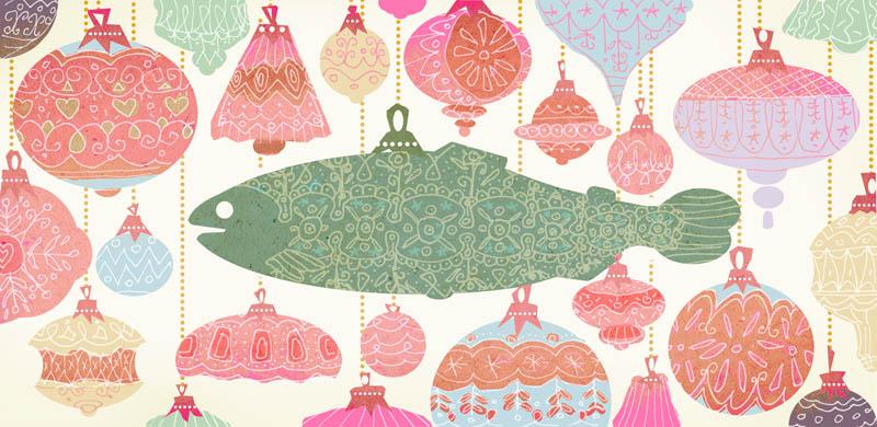 Illustratore Disegnatore Lorenzo Donati Natalori Milano salmone palline di natale palle decoro pesce albero