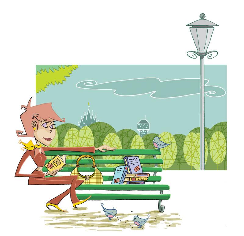 Illustratore Disegnatore Lorenzo Donati Natalori Milano bookcrossing parco ragazza panchina uccellini libri lampione duomo