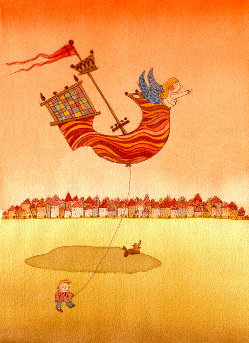Illustratore Disegnatore Lorenzo Donati Natalori Milano sogno palloncino veliero cane spiaggia bimbo felicità direzione donna