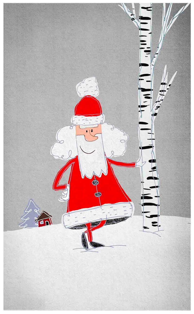 Illustratore Disegnatore Lorenzo Donati Natalori Milano Babbo Natale betulla neve casetta abete