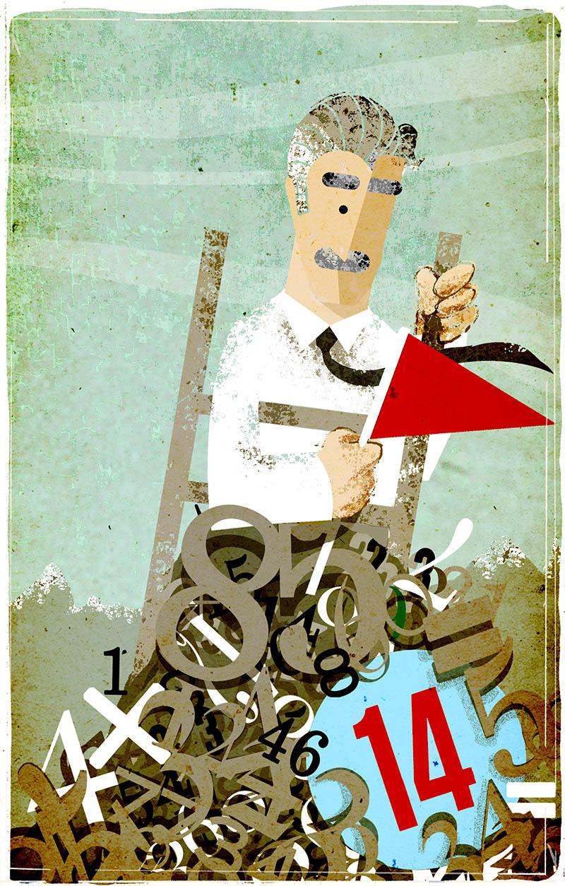 Illustratore Disegnatore Lorenzo Donati Natalori Milano scala montagna numeri montagne pensione conti