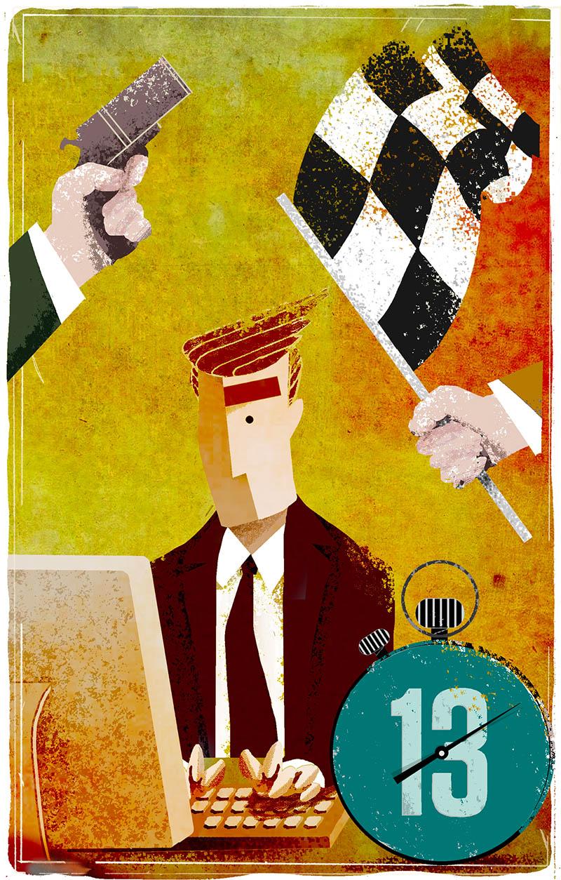 Illustratore Disegnatore Lorenzo Donati Natalori Milano lavoro a termine starter finish bandiera tempo