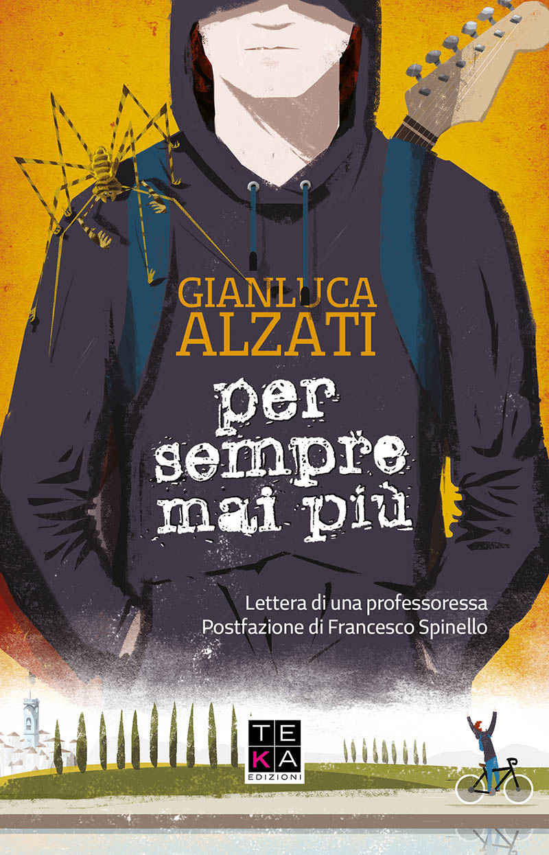 Illustratore Disegnatore Lorenzo Donati Natalori Milano chitarra ragazzo amblipigio corsa bicicletta felpa nera cappuccio fender