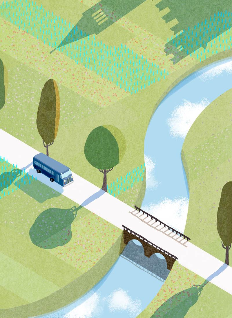 Illustratore Disegnatore Lorenzo Donati Natalori Milano mattina corriera ponte fiume alberi campi piacenza trebbia