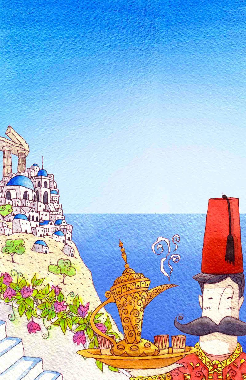 Illustratore Disegnatore Lorenzo Donati Natalori Milano gracia turchia thira santorini mare estate crociera