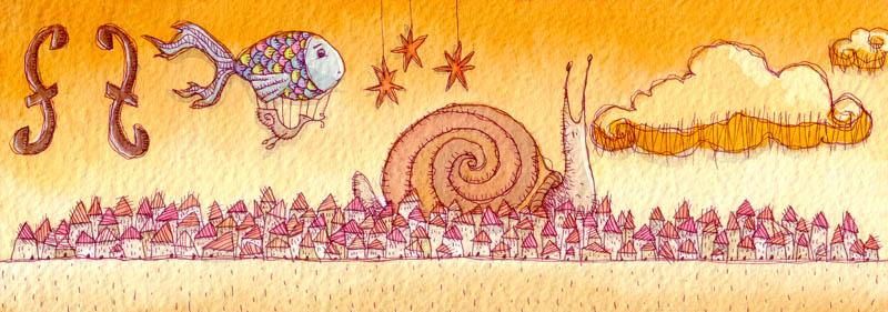 Illustratore Disegnatore Lorenzo Donati Natalori Milano esodo lumaca sogno città paese pesce mongolfiera