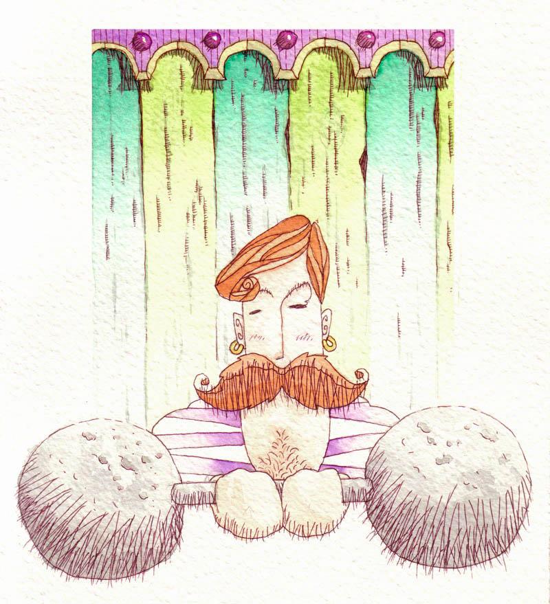 Illustratore Disegnatore Lorenzo Donati Natalori Milano forzuto sollevamento pesi circo baffoni