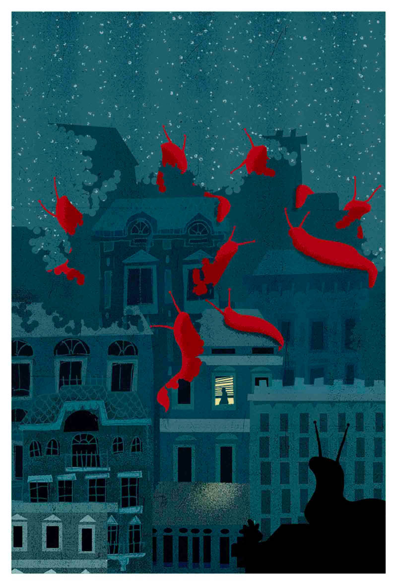 Illustratore Disegnatore Lorenzo Donati Natalori Milano sogno notte lumache mangiare città case