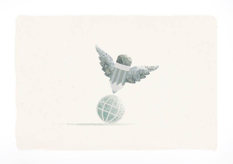 Illustratore Disegnatore Lorenzo Donati Natalori Milano matita alata sopra mondo
