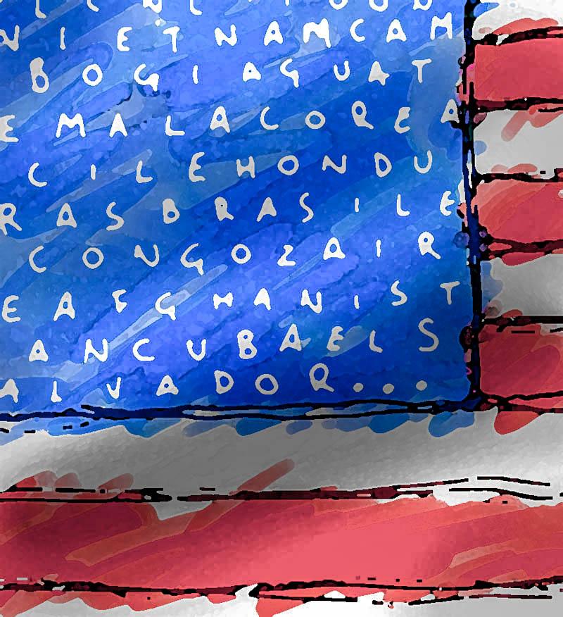 Illustratore Disegnatore Lorenzo Donati Natalori Milano bandiera americana paesi colonizzati