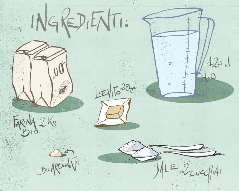 Illustratore Disegnatore Lorenzo Donati Natalori Milano ingredienti crescentine tigelle lievito farina acqua