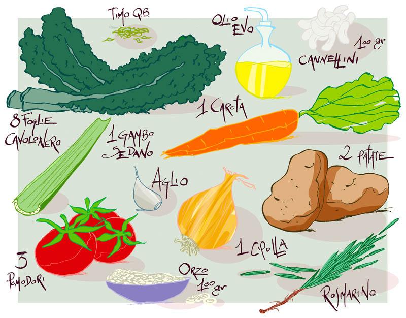 Illustratore Disegnatore Lorenzo Donati Natalori Milano ingredienti cavolo nero zuppa patate carote aglio