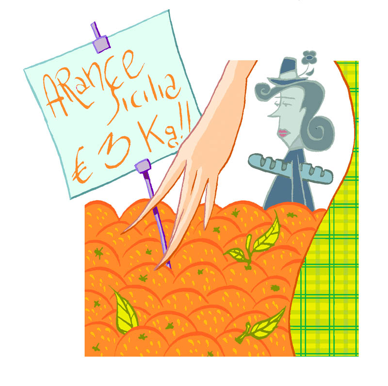 Illustratore Disegnatore Lorenzo Donati Natalori Milano arance mercato persone cartellino prezzi