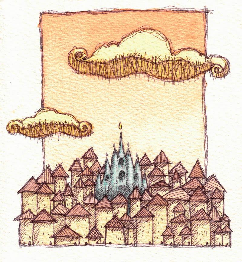 Illustratore Disegnatore Lorenzo Donati Natalori Milano città duomo nuvole case vecchie vecchia