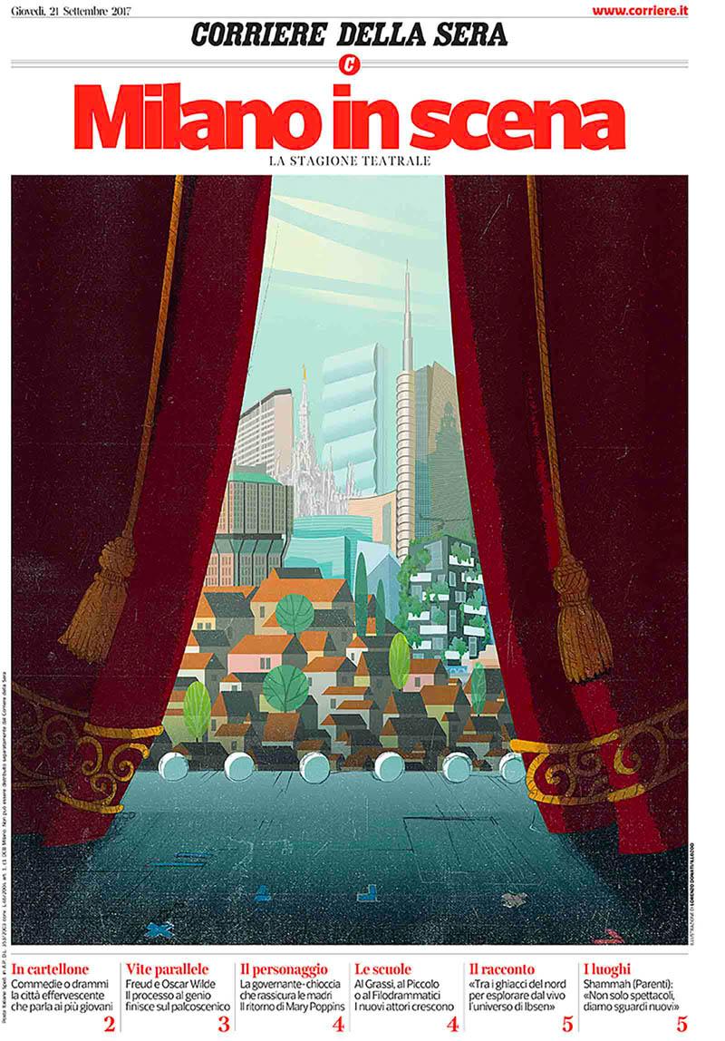 Illustratore Disegnatore Lorenzo Donati Natalori Milano teatro città isola sipario palcoscenico isozaki pirelli duomo bosco verticale